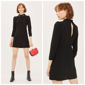 TOPSHOP Collared Embroidered Black Classy Dress